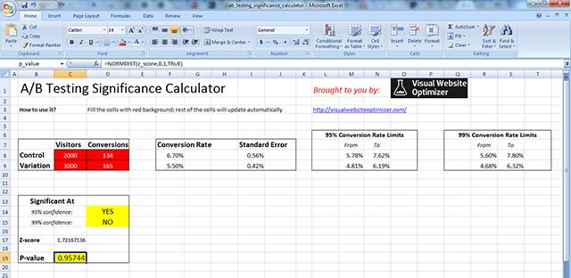 a b testing significance calculator