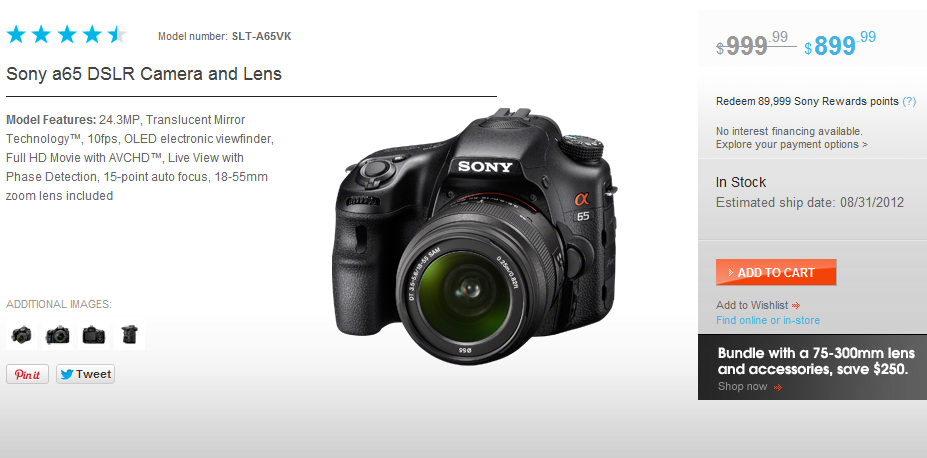 The Sony store has an easy-on-the-eyes design, clearly segmented information and high quality product image.