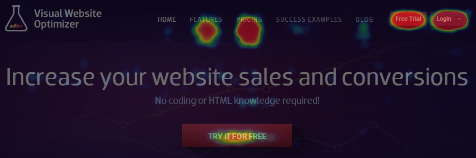 Visual Website Optimizer homepage heatmap