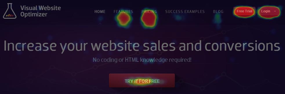 Visual Website Optimizer homepage heatmap