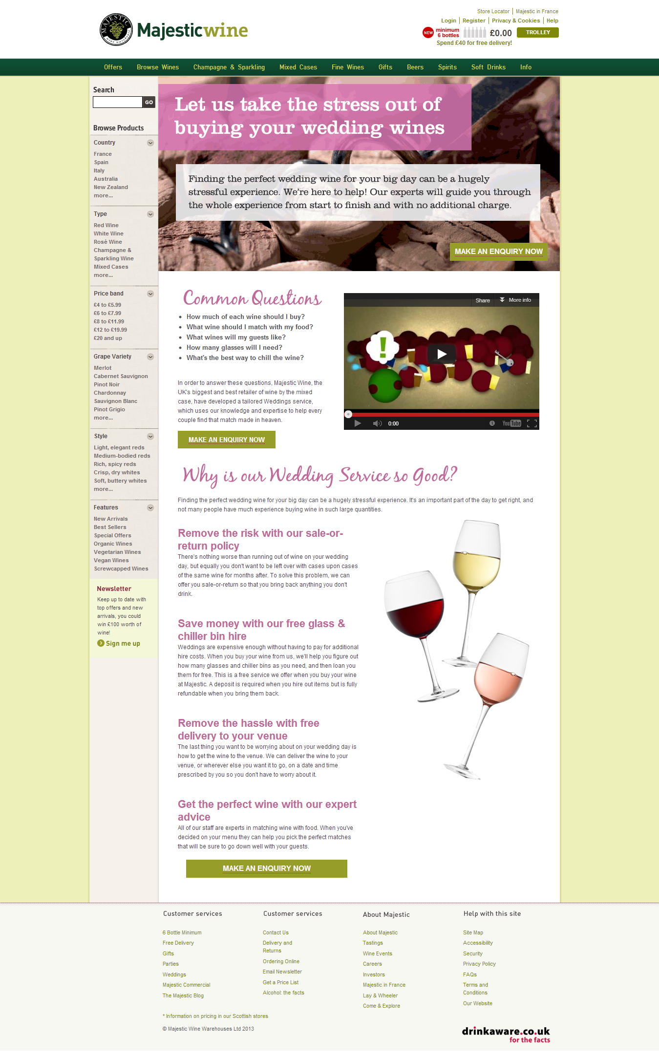 "Majestic Wines final page for ""Weddings"""