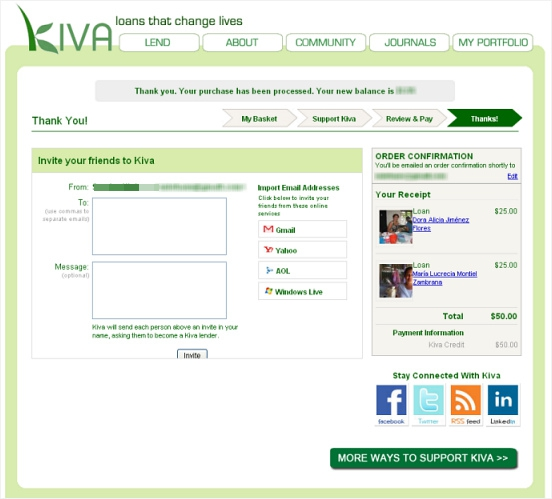 Kiva Thank You Page
