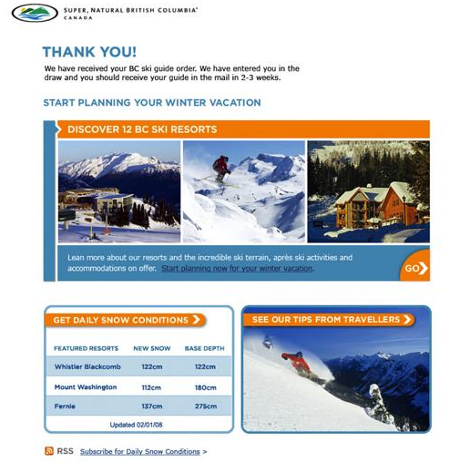 Tourism British Columbia Thank You Page Control