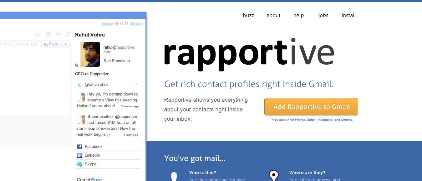 Rapportive's Value Proposition with a Supporting Image