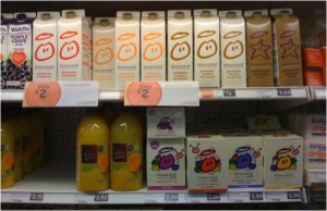 Promotional smoothies displayed with smoothies that are not on discount