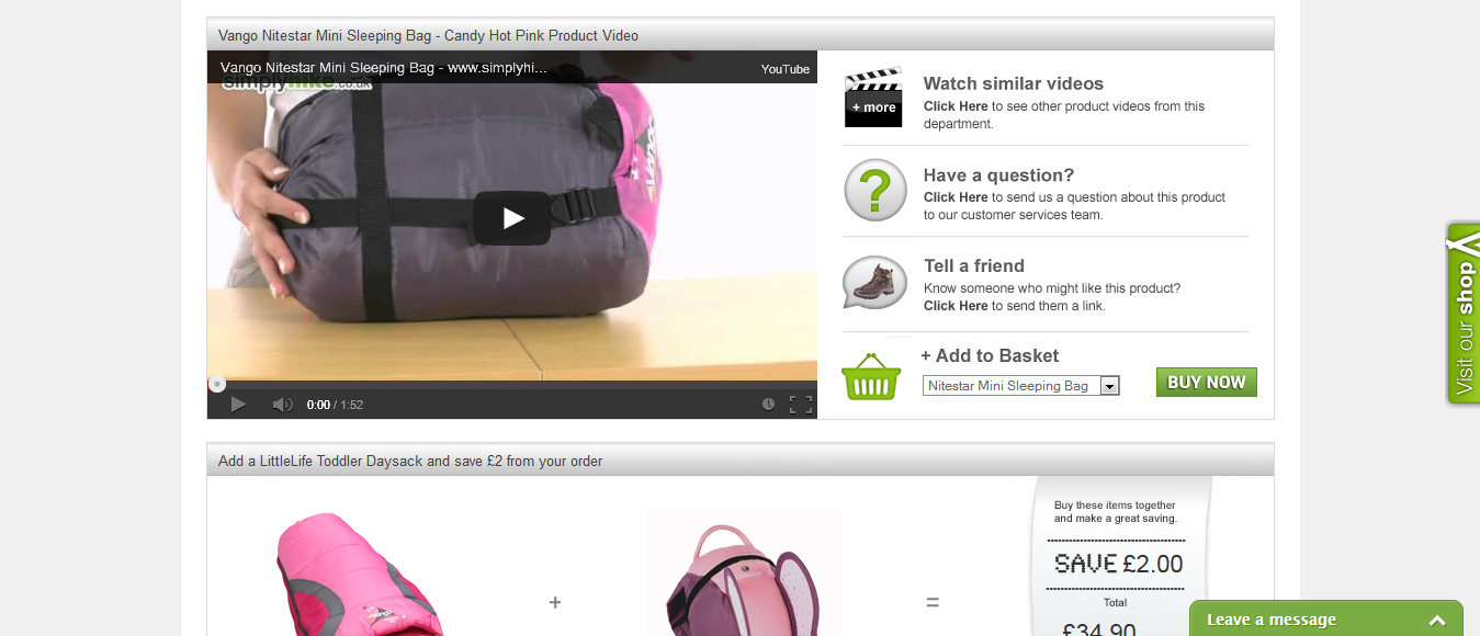 Simply Hike Uses Videos on Their Product Page