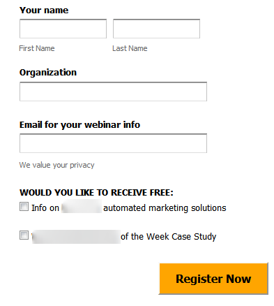 Poorly aligned lead generation form
