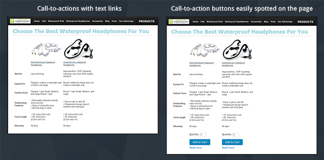Text link CTAs v/s CTA buttons