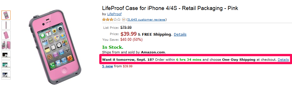 Amazon adds the urgency statement on its product pages to impel careful buyers to buy from them without any delay