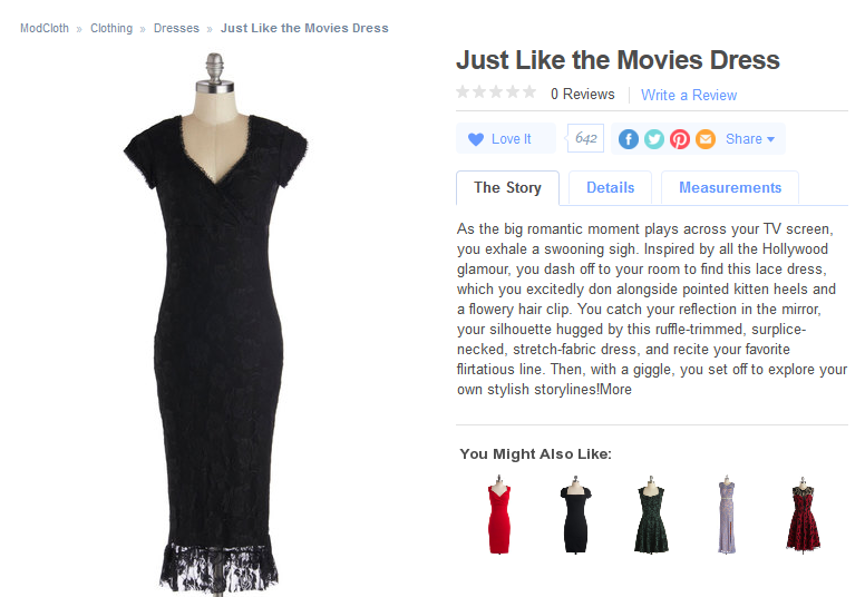 ModCloth has unique product descriptions that weave beautiful, compelling stories