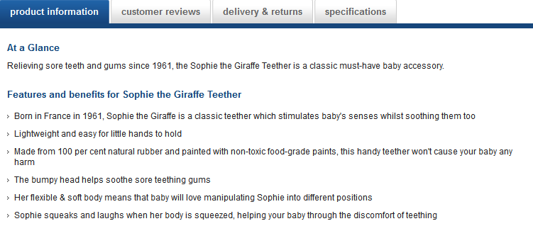 Benefits-driven description from Mothercare.com
