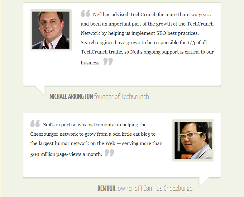 Real testimonials displayed on Neil Patel's website to influence conversions