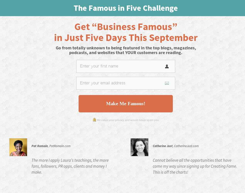 Famous in Five Opt-in Campaign Challenger Page