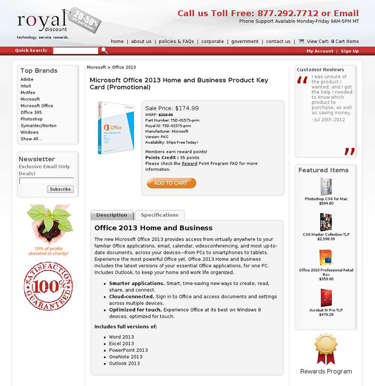 Royal Discount's original product page