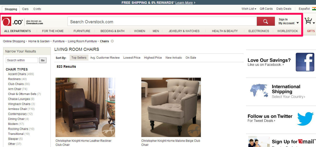 Overstock page