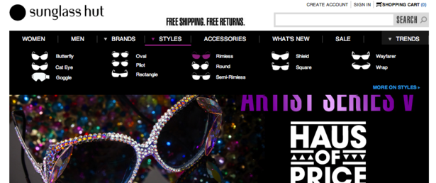 Visual cues to help visitors distinguish product categories on Sunglass Hut