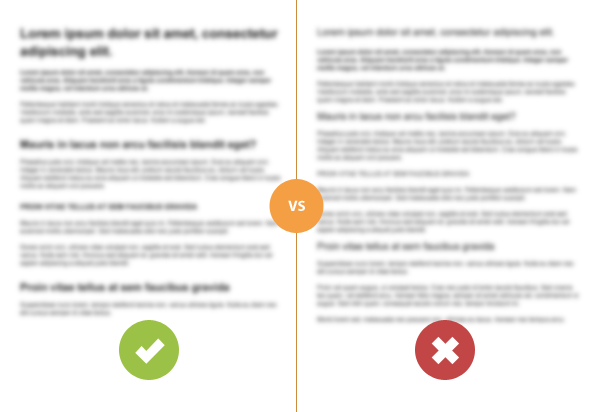Heading and subheads stand out in a squint test