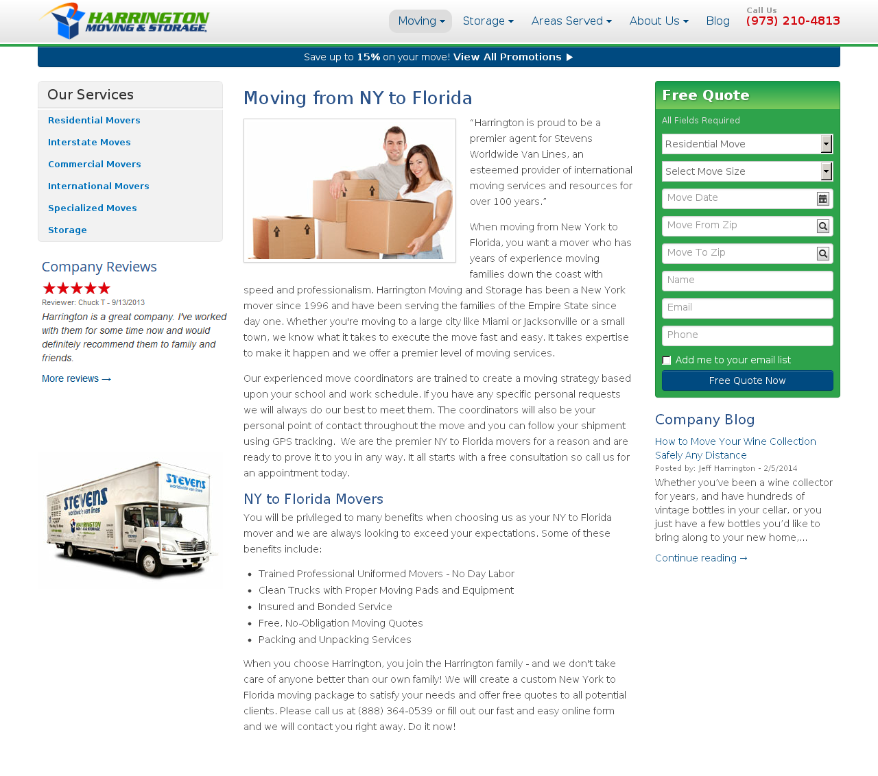 Harrington Movers Control Page