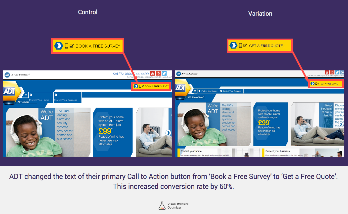 Adt Quote Cta Copy Change From 'survey' To 'quote' Increased Leads60%