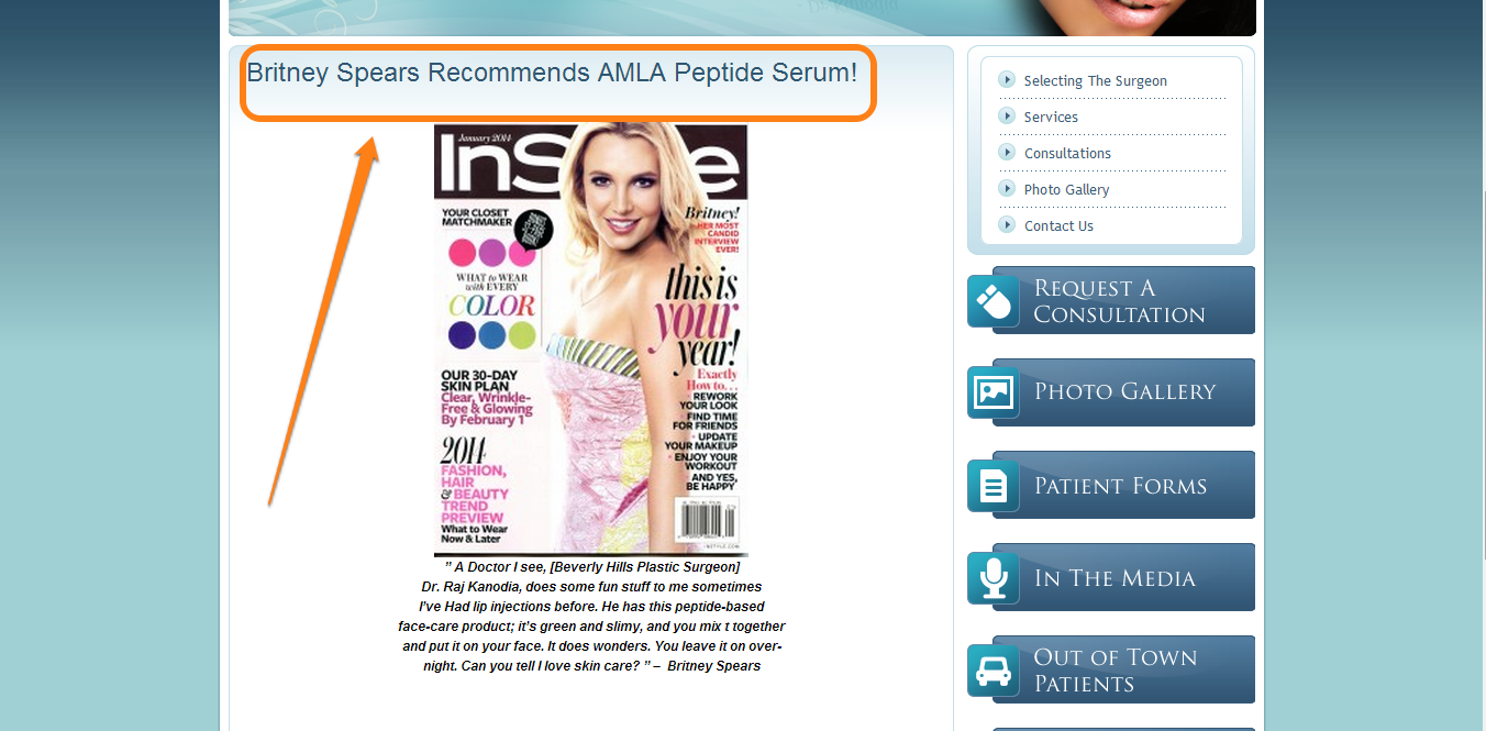 Screenshot of a page which creates Authority Bias to make the headline 'Britney Spears recommends AMLA Peptite Serum!' more compelling