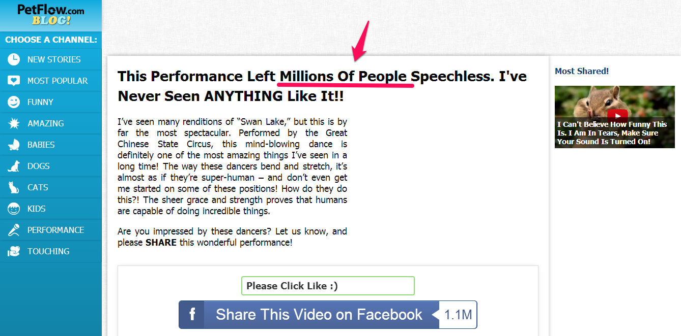 A screenshot of a page with the headline conveying Social Proof by adding the term 'Millions of people'