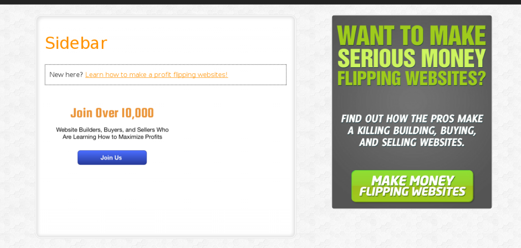 Screenshot of Empire Flippers A/B Test Variation with the CTA Text changed