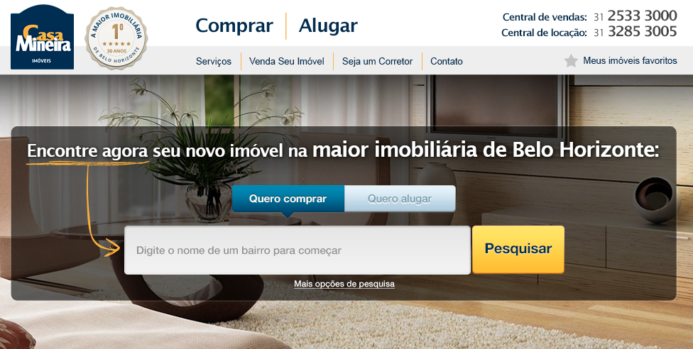 Original homepage of Casa Mineira with standard search box