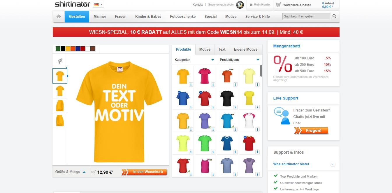 Shirtinator Desktop Webpage