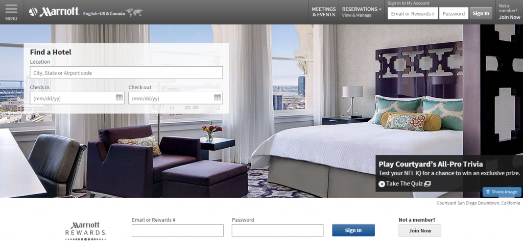 Marriott homepage