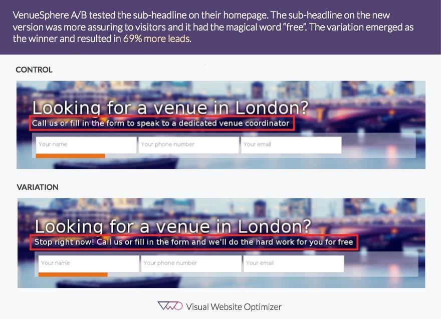 VenueSphere A/B testing comparison image