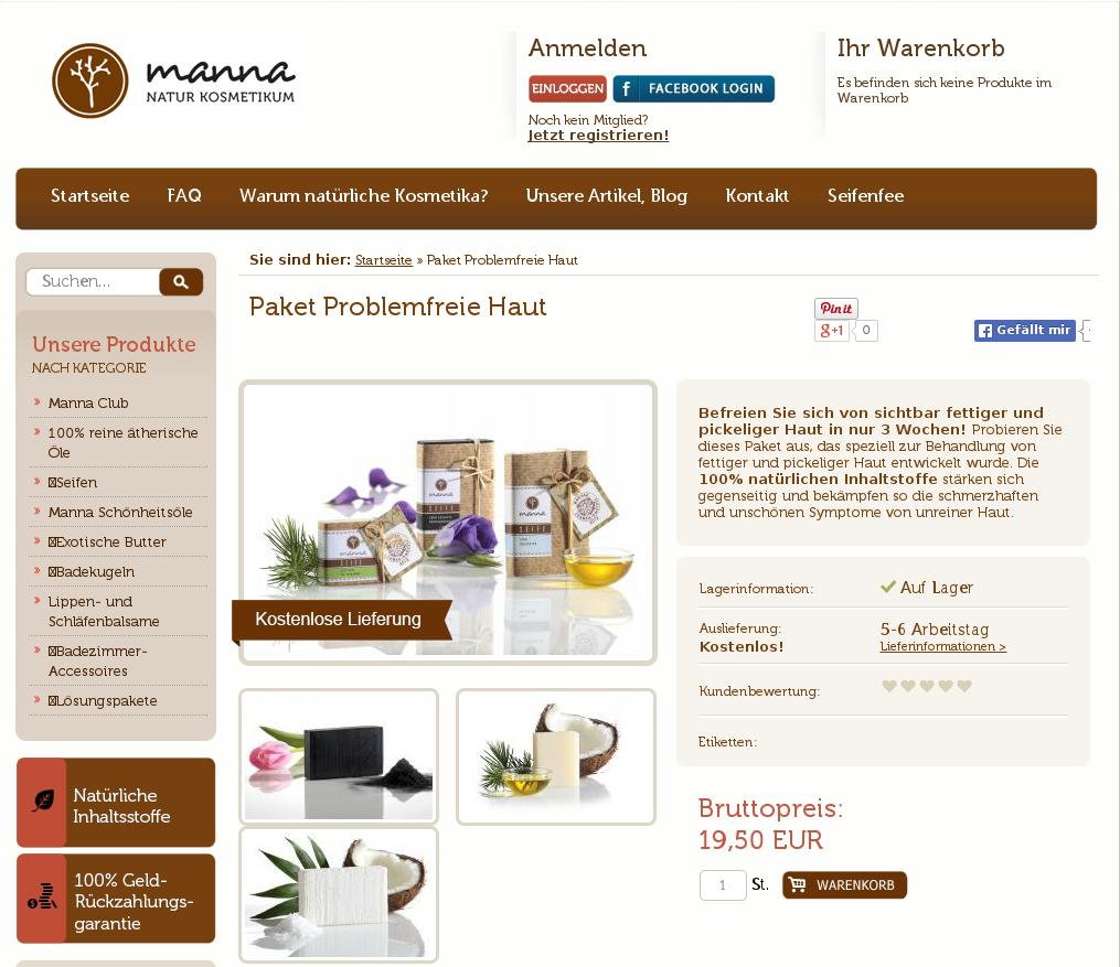 Original product page - Manna A/B test