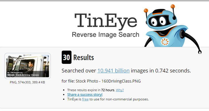 TinEye Reverse Search Result