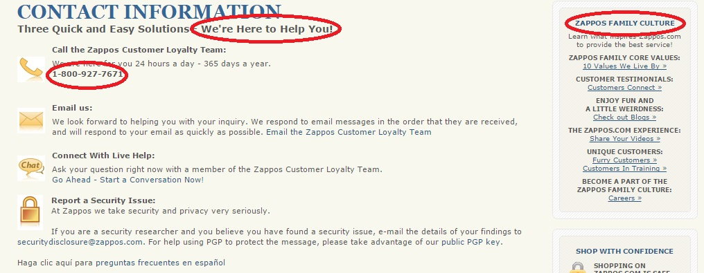 Contact Page - Zappos