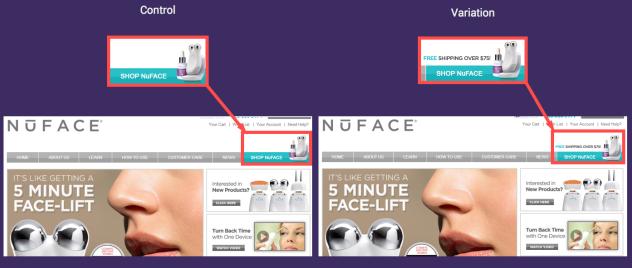 A/B test for NuFace website