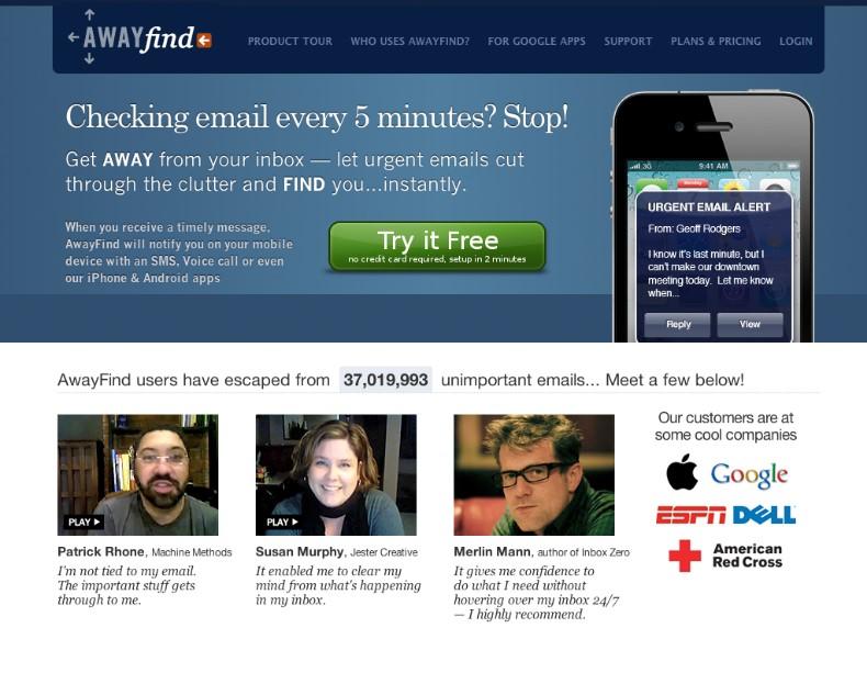 AwayFind Headline Test Variation Image