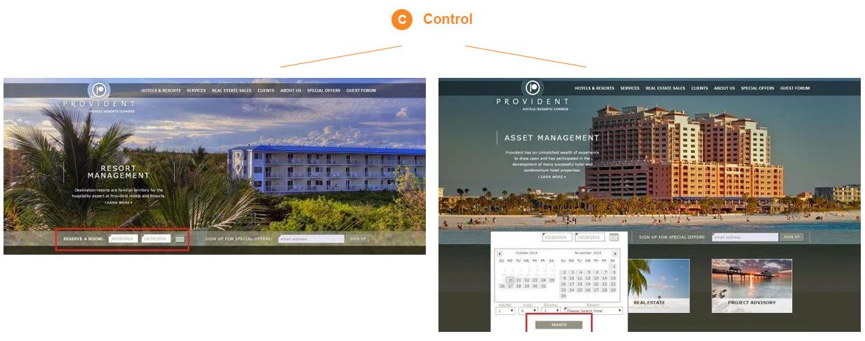 Multivariate test for Provident Hotels website
