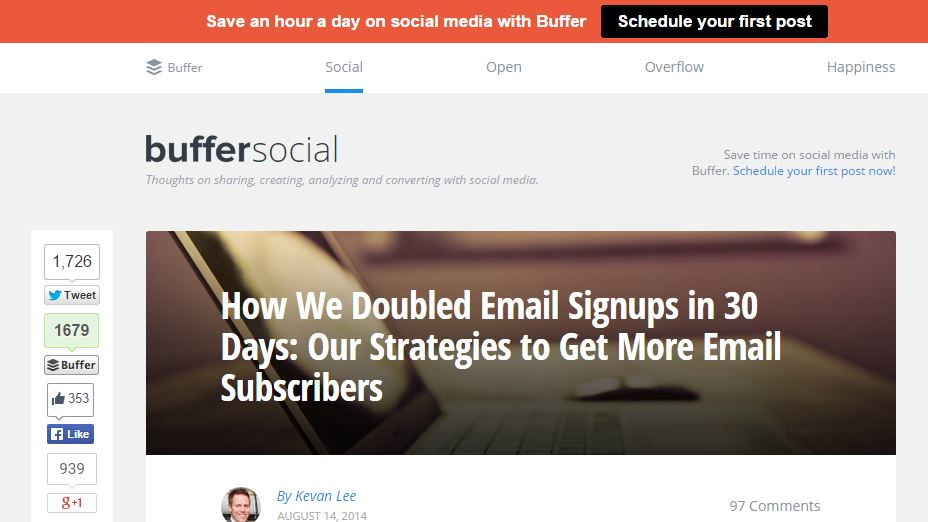 How Buffer is Using HelloBar For CTA Placement