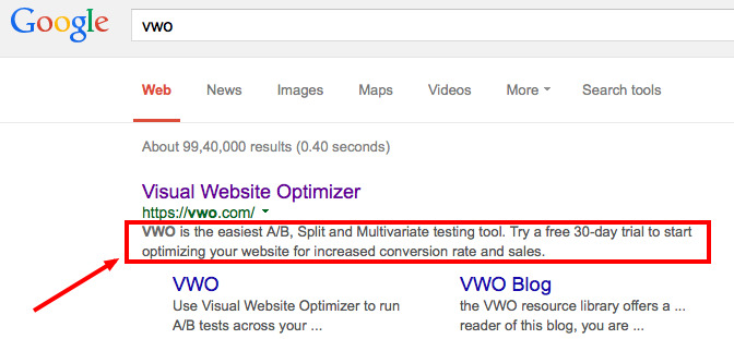 meta description on SERP
