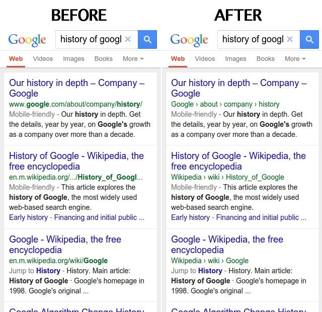 Breadcrumb in Mobile Search Results