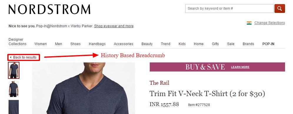History Based Breadcrumb - Example