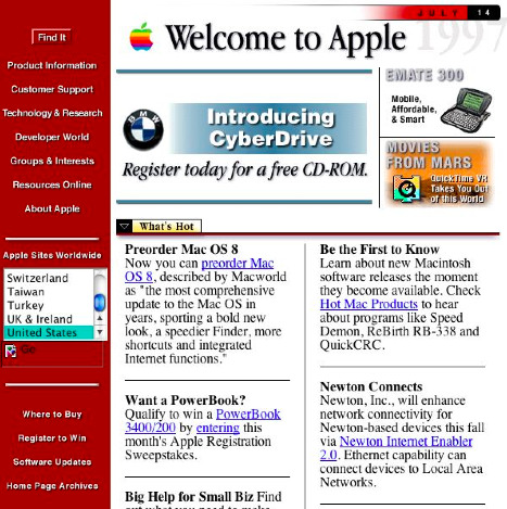 Apple website from 90s