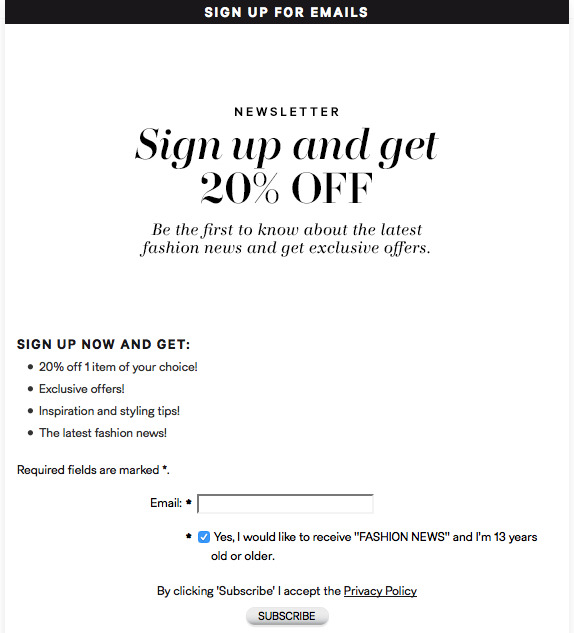 H&M Newsletter offer