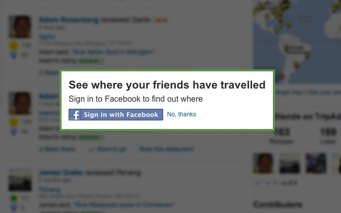 Screengrab Of Tripadvisor Using Facebook Network to Spread Word Among Personal Networks - Another Kind of Social Proof