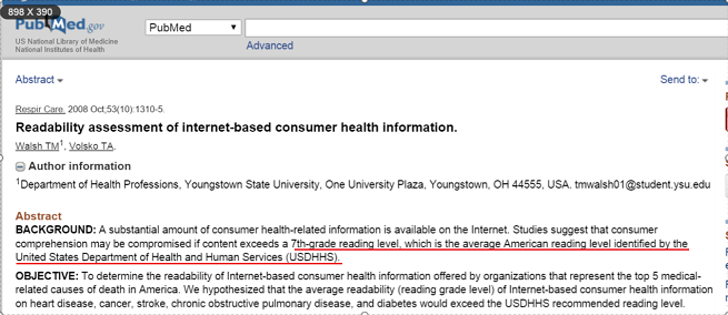 Readability assessment of internet based consumer health information.   PubMed   NCBI