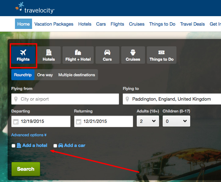 Travelocity Cross-sell example