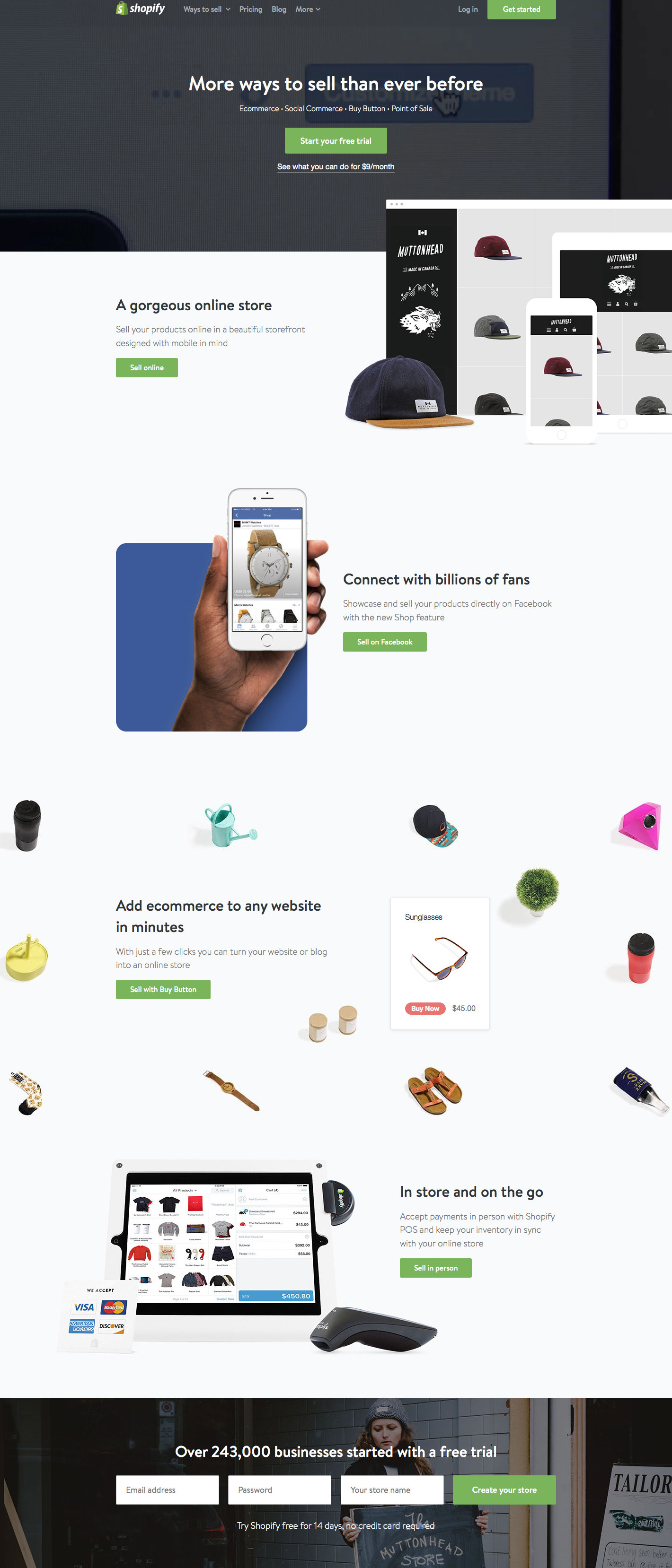 CTAs on Shopify Homepage