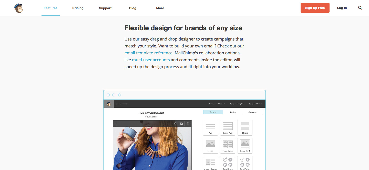 Benefit-driven Features on MailChimp homepage