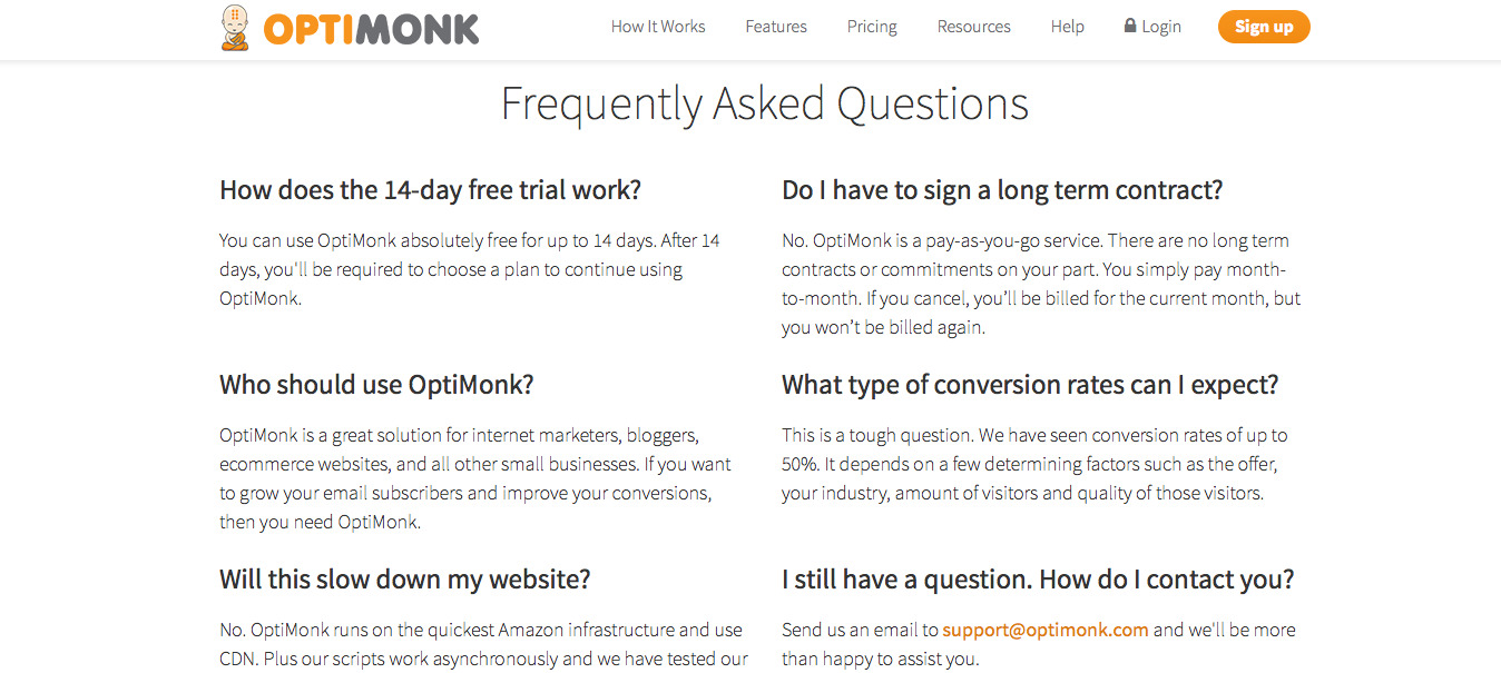 FAQs on Pricing Page by Optimonk
