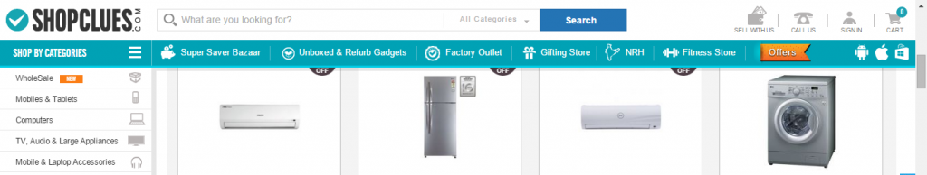 Shopclues A/B test variation page screenshot