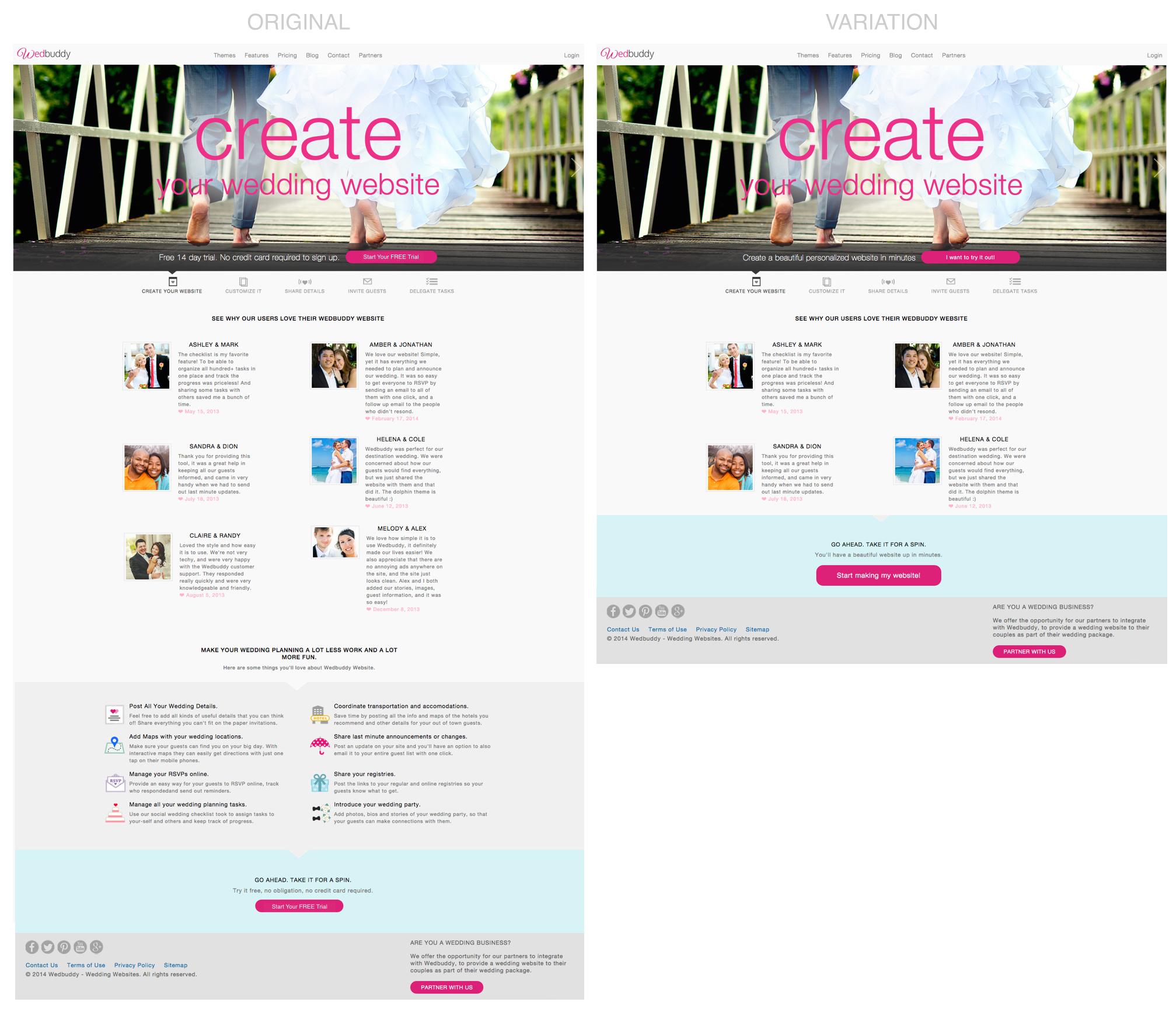 Wedbuddy Homepage depth reduction A/B Test